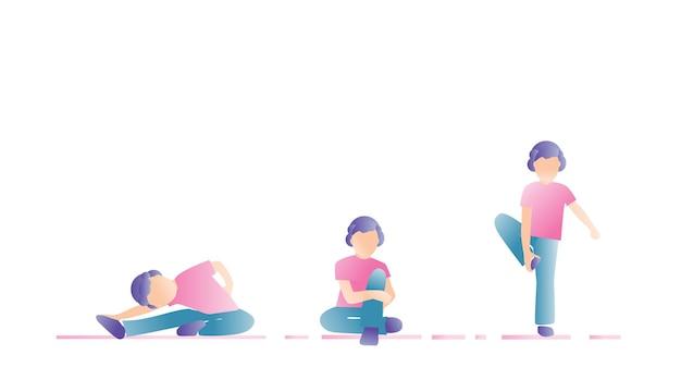 Dziecko zajmuje się gimnastyką. tło zdrowego stylu życia. wybrane ilustracje.