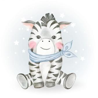 Dziecko zebry urocza akwarela ilustracja