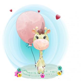 Dziecko żyrafa ładny charakter malowane akwarela premii wektor