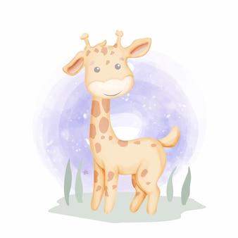 Dziecko żyrafa na trawie