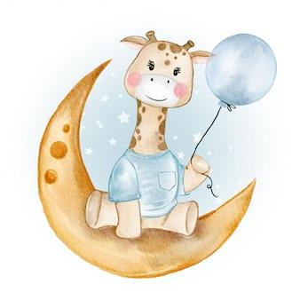 Dziecko żyrafa trzymając balon na księżyc