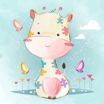 Dziecko żyrafa w wzór układanki