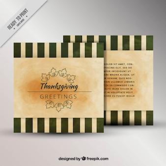 Dziękczynienia karty z paskami w stylu vintage