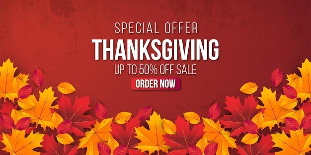Dziękczynienia sprzedaż transparent tło z liści. oferta specjalna do 50%.premium vector