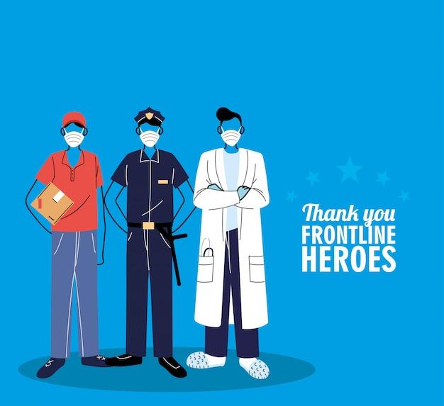Dzięki pracownikom pierwszej linii. różni ludzie z różnych zawodów noszą maski ochronne.