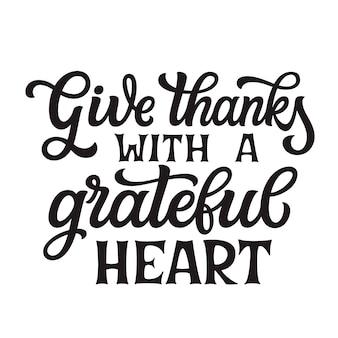 Dziękujcie z wdzięcznym sercem. literowanie