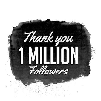 Dziękuję 1 milion zwolenników projektowania wektora z czarną akwarelą