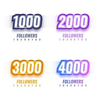Dziękuję 1000 do 4000 obserwujących projekt szablonu ilustracji