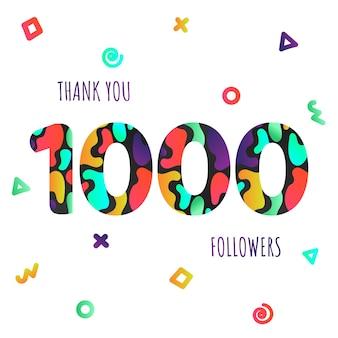Dziękuję 1000 obserwujących numery pocztówka gratulacje gradientowe płaskie gradientowe 1k dzięki