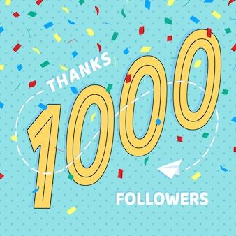 Dziękuję 1000 obserwujących numery pocztówka gratulacje w stylu retro w stylu płaskim, dzięki 1k