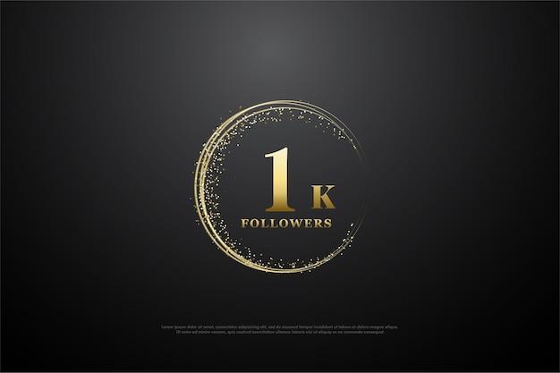 Dziękuję 1000 obserwujących, z liczbą i złotym piaskiem tworzących niedoskonały krąg.