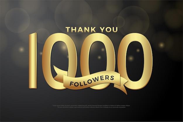 Dziękuję 1000 obserwujących, ze złotą liczbą i wstążkami.