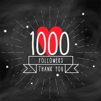 Dziękuję 1000 zwolenników doodle szablon
