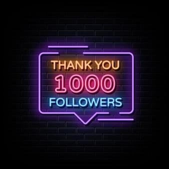 Dziękuję 1000 zwolenników neonowy znak