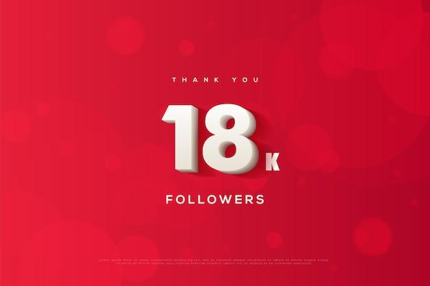 Dziękuję 18 tys. obserwujących z białymi cyframi i efektami 3d