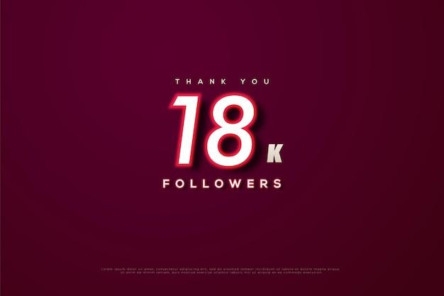 Dziękuję 18 tys. obserwujących z czerwonymi liczbami kreski