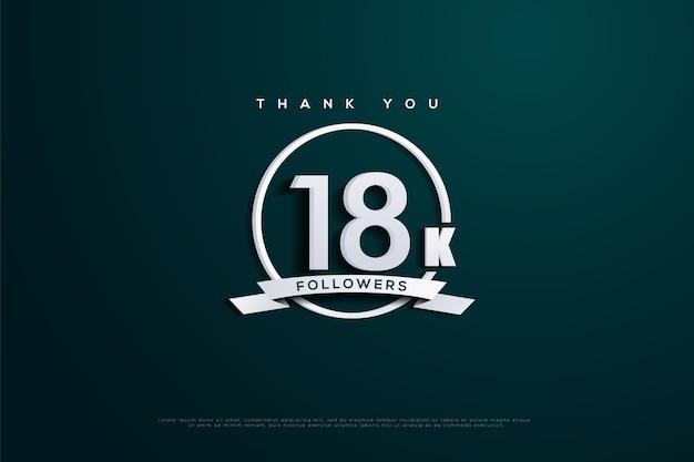 Dziękuję 18k obserwujących na białym kółku i białej wstążce pod numerami