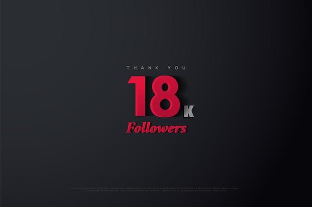 Dziękuję 18k obserwującym na szarym z czarnymi efektami i czerwonymi liczbami
