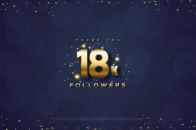 Dziękuję 18k obserwującym z niebieską bańką i złotymi liczbami