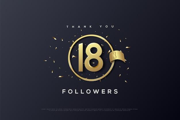 Dziękuję 18k obserwującym ze złotą wstążką wyciętą obok liczb