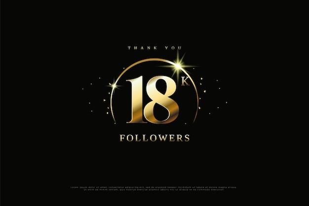 Dziękuję 18k obserwującym ze złotym łukiem nad liczbami