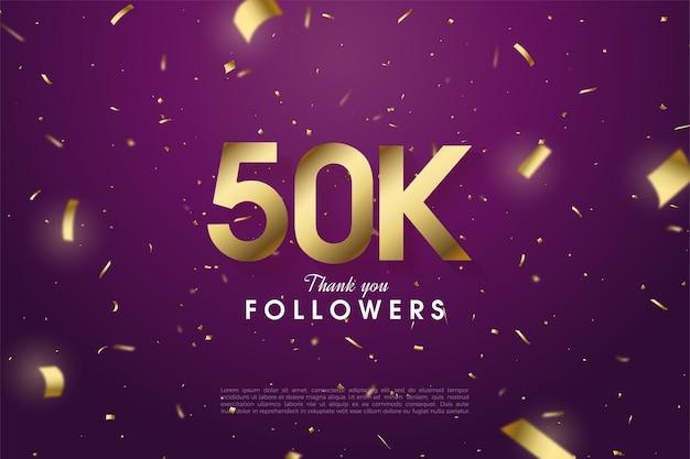 Dziękuję 50 tysiącom obserwujących z rozrzuconymi złotymi numerami i wstążkami na fioletowym tle.