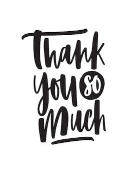 Dziękuję bardzo odręczny napis wektorowy. fraza wyrażenie wdzięczności emocjonalnej na białym tle. pocztówka, kartka okolicznościowa ozdobna kaligrafia. wdzięczność, słowa wdzięczności.