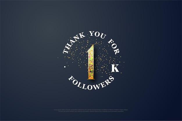 Dziękuję bardzo za 1000 obserwujących. z rozrzuconym złotym brokatem.