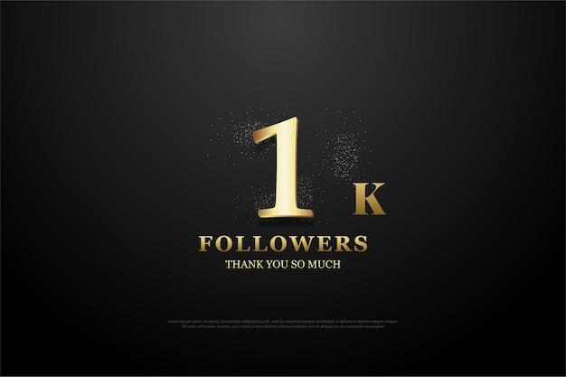 Dziękuję Bardzo Za 1000 Obserwujących. Ze Złotym Numerem I Brokatem. Premium Wektorów