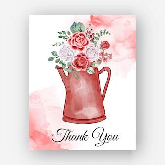 Dziękuję ci akwarele rose teapot szablon karty