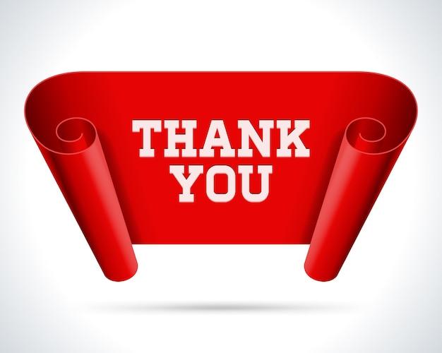 Dziękuję ci. czerwony zwój rozwinięty tymczasowo.