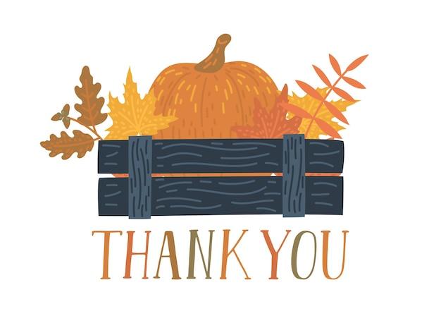 Dziękuję ci. pudełko zbiorów z odręcznym tekstem. karta dziękczynienia. jesienna ilustracja.