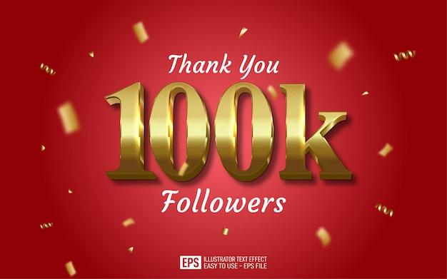 Dziękuję do edytowalnego stylu tekstu 100 000 obserwujących