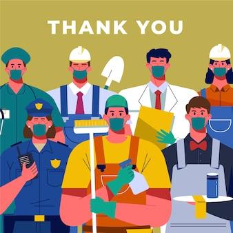Dziękuję dostawcom, lekarzom i policjantom