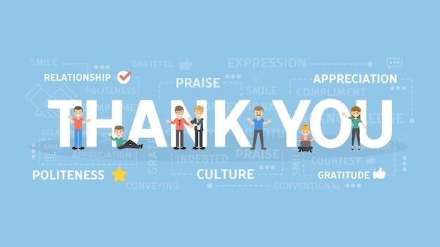 Dziękuję ilustracji koncepcji. pomysł wdzięczności i uznania.