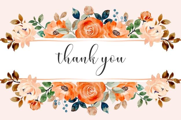 Dziękuję karta z akwarelowym obramowaniem kwiatu róży