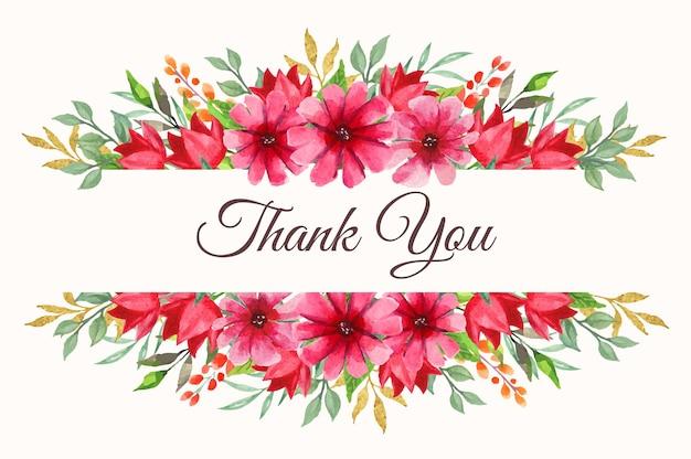 Dziękuję karta z pięknym kwiatowym obramowaniem akwarela na zaproszenie na ślub