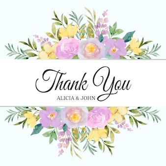 Dziękuję karta z żółtą fioletową akwarelą z kwiatowym obramowaniem