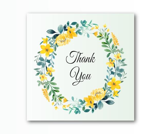 Dziękuję karta z żółto-zieloną akwarelą w kwiaty