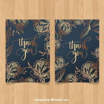 Dziękuję kartę złotymi kwiatami