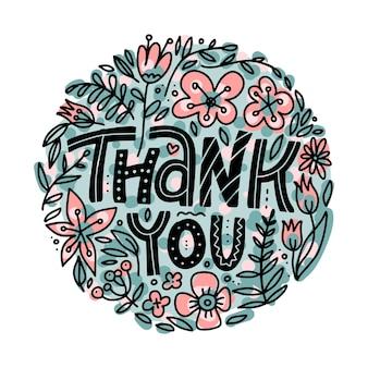 Dziękuję kartkę z życzeniami z napisem odręcznym i ładny kwiatowy okrąg