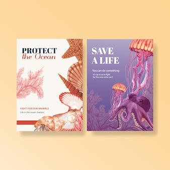 Dziękuję karty z akwarela ilustracja koncepcja życia morskiego
