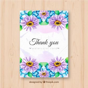 Dziękuję karty z daisies akwarela
