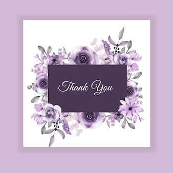 Dziękuję karty z fioletowym kwiatem akwarela