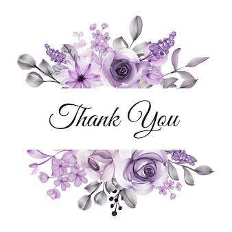 Dziękuję karty z fioletowym kwiatem akwareli