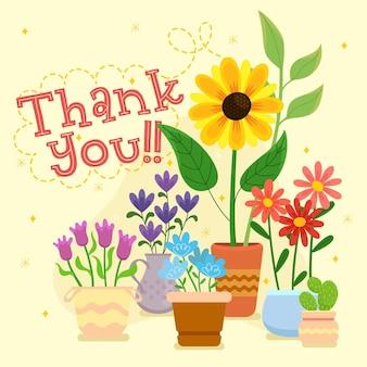 Dziękuję karty z kolorowymi kwiatami