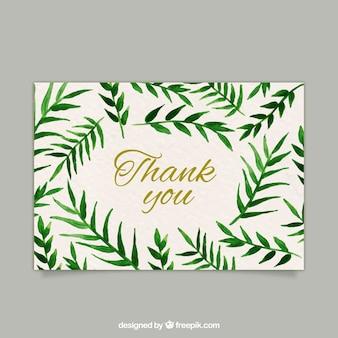 Dziękuję karty z liśćmi akwareli
