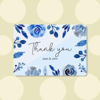 Dziękuję karty z niebieskim kwiatem akwarela