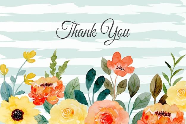 Dziękuję karty z żółtym pomarańczowym kwiatem w tle akwarela