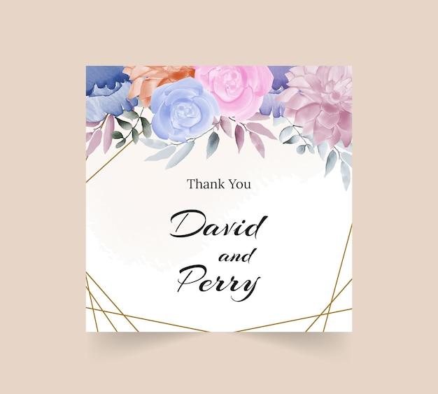 Dziękuję kwiatowy projekt karty akwareli z liśćmi i złotą obwódką